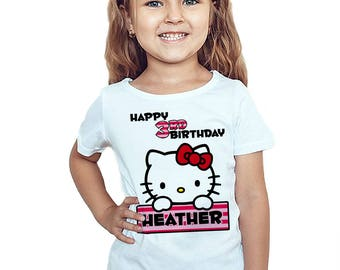 Hello Kitty Birthday Shirt Personalized Hello Kitty Birthday Girl Customized T-Shirt Name and Age Gift Party Favors