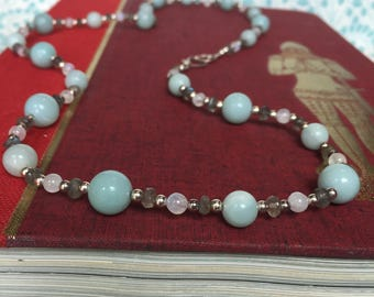 Cathy and Heathcliff Amazonite, Moonstone, Labradorite, and Sterling Silver Statement Necklace
