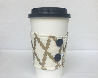 Reusable Coffee Sleeve - Gold Diamond Print