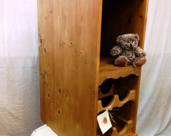 Solid Pine Kitchen Cabinet with Integral Wine Rack