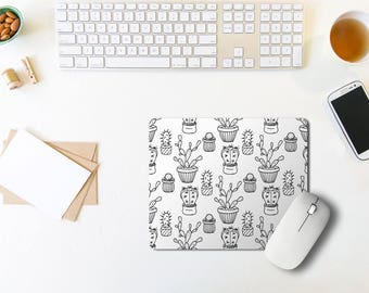 Mouse Pad / Cactus Mouse Pad / Floral Mousepad / Office Decor / Mouse Pad Funny / Office Desk / Rectangle Mouse Pad / Coworker Gift