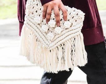 Macrame Clutch | Macrame Bag | Macrame Purse | Fringe Bag | Boho Bag | Boho Chic