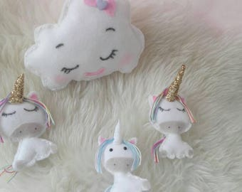 Baby mobile unicorns felt