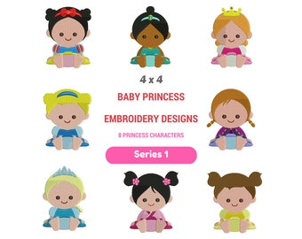 Baby Princess Embroidery Design   Disney Princess Hoop Embroidery   Disney Embroidery Images   Cute Baby Embroidery Designs