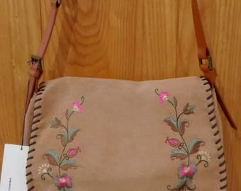leather and fabric bag