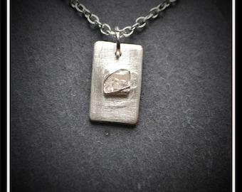 Silver Detail Rectangle CZ Pendant - Silver Precious Metal Clay (PMC), Handmade, Necklace - (Product Code: ACM060-17)