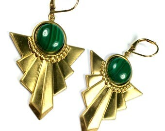 BO Art Deco NABIRYE gilt gold end 24 K Malachite and support raw brass