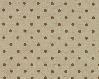 Linen Mix Polka Dot fabric from Sevenberry in stone Fat Quarter