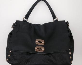 purse made in Italy black leather