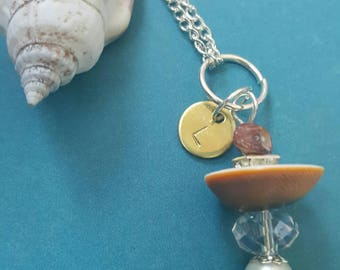 Beach Adventures necklace with initial of choice