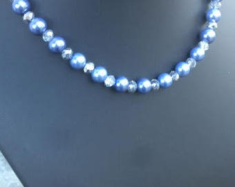 """Cornflower blue pearlised bead necklace 19"""", with free matching earrings"""