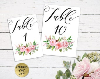 Floral Wedding Table Numbers, Printable Table Numbers, Rustic Table Numbers, DIY Table Numbers Editable, 4x6 5x7, PDF Instant Download FL460