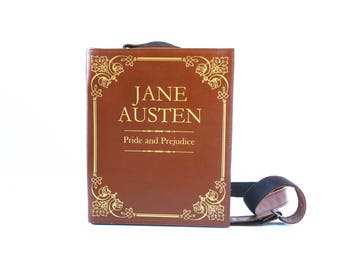 Jane Austen Leather Book Bag Pride and Prejudice Leather Book Purse