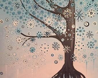Tree blue, acrylic, canvas, 70 x 50 cm, 3D optics, white, black, image, acrylic painting