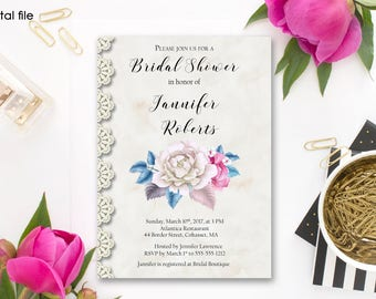 Bridal Shower Invitation Printable Floral Digital Wedding Pink Blue White Watercolor Roses Invitation Beige Lace Bridal Shower Invite WS-009