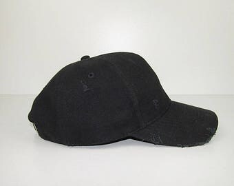 The Heavy Brushed Cap - Jet Black / Vintage Wear / 90's Rock Grunge / Street Compton Fashion Feel / With Worn Raw Distressed Details
