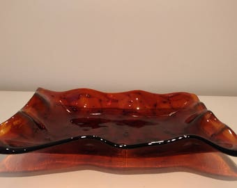 Handmade rectangular fused bowl in amber color
