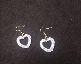 Frivolité silvery grey earrings