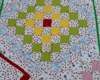 Comfy Country Style Handmade Around The World Crib Quilt Infant/Toddler