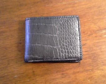Handmade leather alligator print bifold wallet