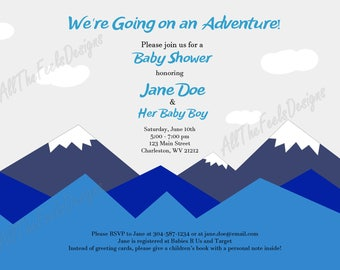 Baby Shower Invitation - Blue Mountain Adventure!