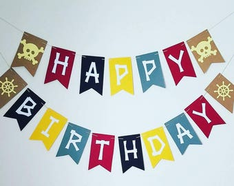Pirates Happy Birthday Banner, pirate partyPirate Theme, Pirate Party, Pirate Banner, Photo Prop, Happy Birthday Banner, First Birthday,