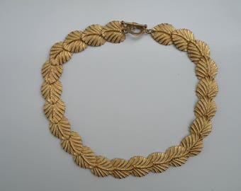 Vintage Leaf Necklace, Vintage Gold Tone Necklace, Vintage Leaf Necklace, Vintage Necklace, Vintage Ivy Leaf Necklace