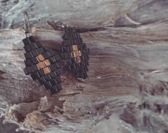 Small diamond cross earrings