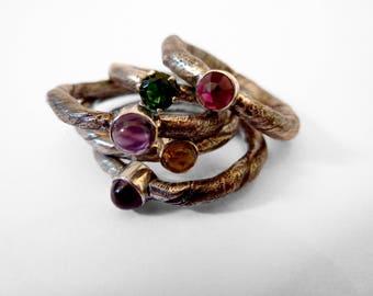 "Stacking ring ""Branch"" silver with color stone"
