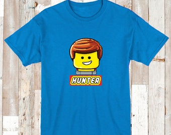 Custom Emmet T-shirt for Boys With Personalized Name Boys Custom Tee Tees T-shirts Movie Cotton Tees Personalized Emmet, aa06