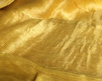 Handwoven silk linen saree