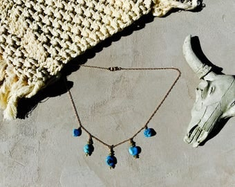 Collection AIYANA, nugget turquoise, labradorite, gold filled necklace