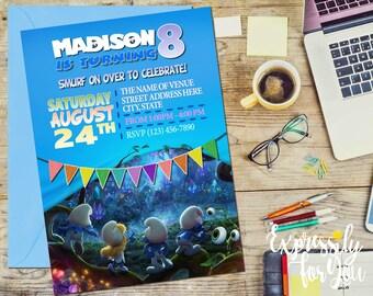 Smurfs Birthday Invitation, Smurfs Movie Birthday Invitation, Smurfs Invitation,