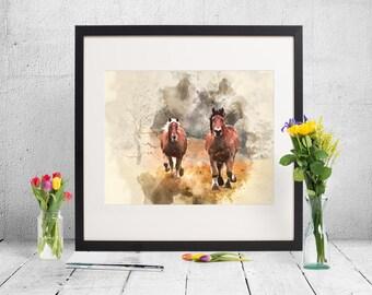 watercolor brown horses