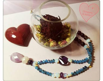 Opal and Amethyst necklace with crystals, < 3
