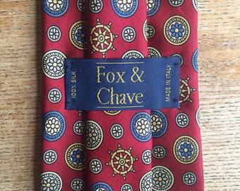 Vintage men's 100% silk Fox & Chave red necktie with retro nautical shipwheel pattern
