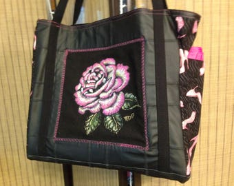 Hand painted Pink Rose tote