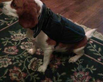 Black Leather Dog Jacket