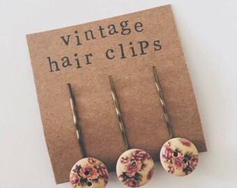 Vintage Button Hair Clips