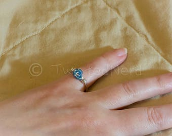 Blue beads wire wrapped ring size 4