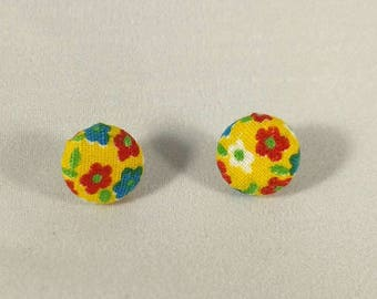 Floral Fabric Button Earrings, Vintage Fabric Earrings, Pinup Jewelry, Rockabilly Accessories