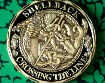 Navy Shellback Original Military Colorized Challenge Art Coin