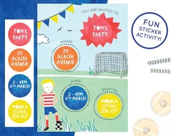 Personalised Football Invitations with Sticker Activity