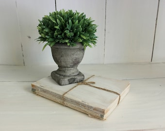 Set of 2 Vintage Distressed Books with Jute