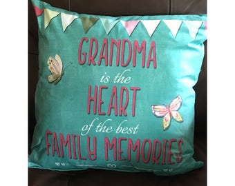 Grandma Heart of the Family Throw Pillow
