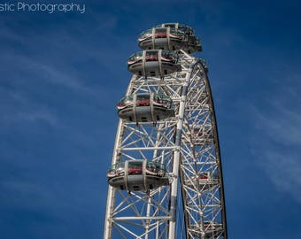 Digital London Eye Deep Blue Sky Photo