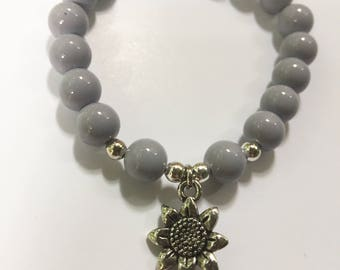 Purple and Silver Beaded Bracelet with Flower Charm