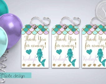 Mermaid Party Tags, Personalized Birthday Tags, Mermaid Party Decor