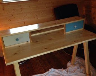 Redwood desk with 2 drawers under computer shelf