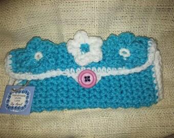 crochet clutch or wallet 8in. x 4in. handmade